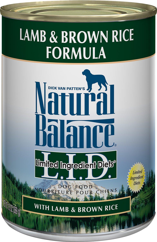 Natural Balance L.I.D. Limited Ingredient Diets Lamb & Brown Rice Formula Canned Dog Food, 13-oz