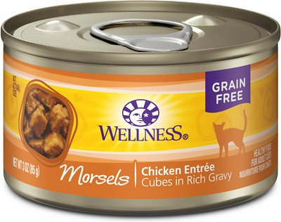 Wellness Morsels Chicken Entree Grain-Free Canned Cat Food, 3-oz, case of 24