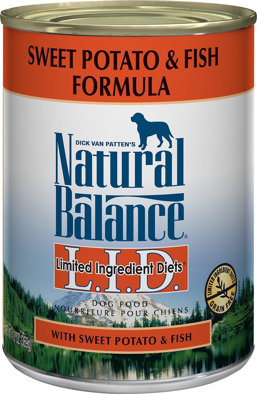 Natural Balance L.I.D. Limited Ingredient Diets Sweet Potato & Fish Formula Grain-Free Canned Dog Food, 6-oz