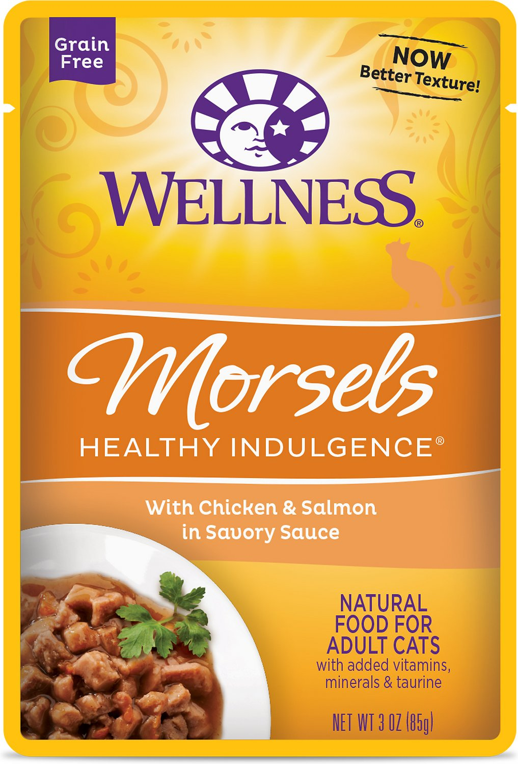 Wellness Healthy Indulgence Morsels with Chicken & Salmon in Savory Sauce Grain-Free Wet Cat Food Pouches, 3-oz