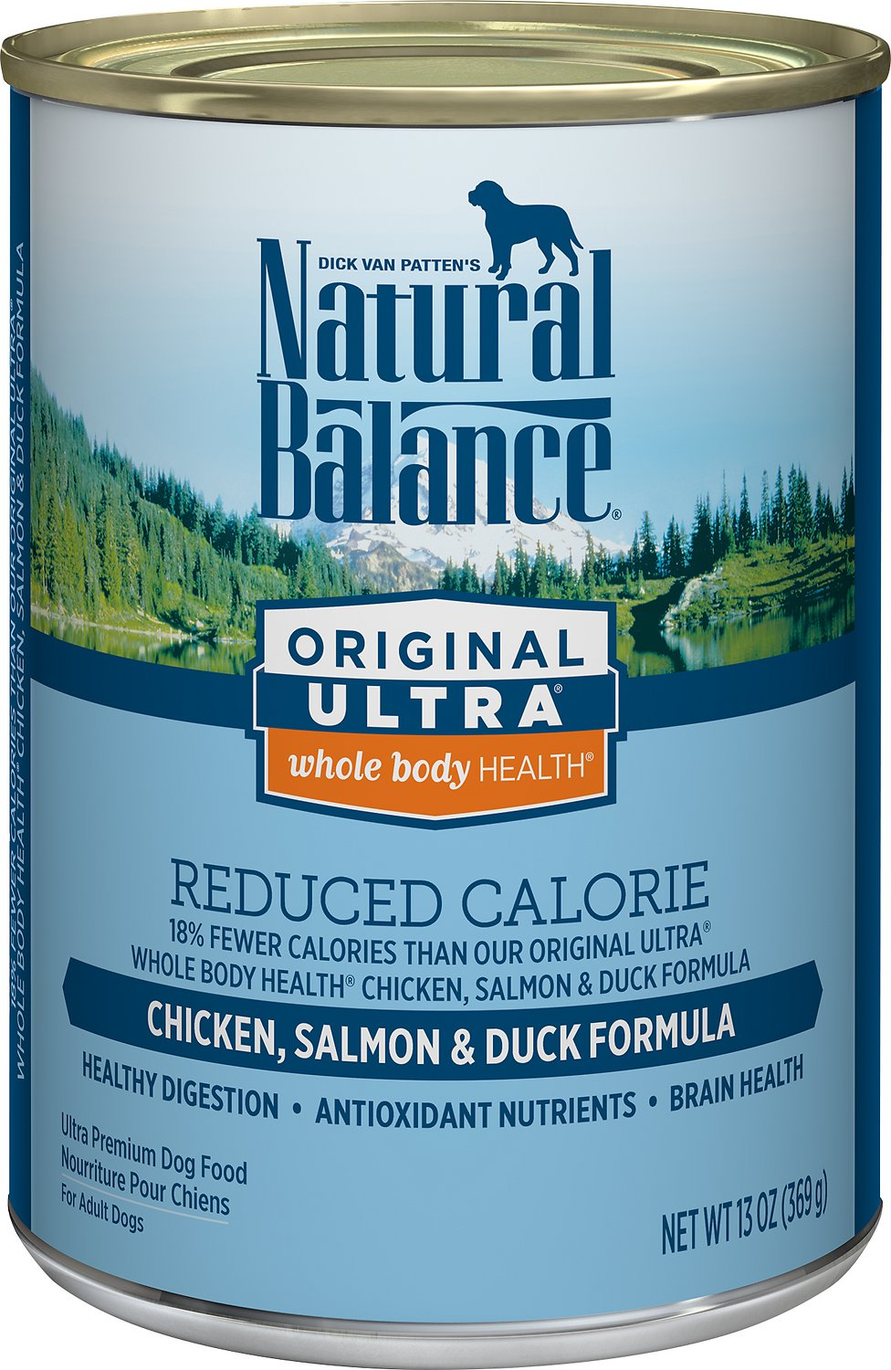 Natural Balance Original Ultra Whole Body Health Reduced Calorie Chicken, Salmon & Duck Formula Canned Dog Food, 13-oz
