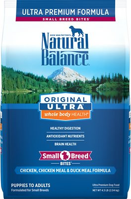 Natural Balance Original Ultra Whole Body Health Chicken, Chicken Meal & Duck Meal Formula Small Breed Bites Dry Dog Food, 4.5-lb bag