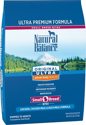 Natural Balance Original Ultra Whole Body Health Chicken, Chicken Meal & Duck Meal Formula Small Breed Bites Dry Dog Food, 12-lb bag