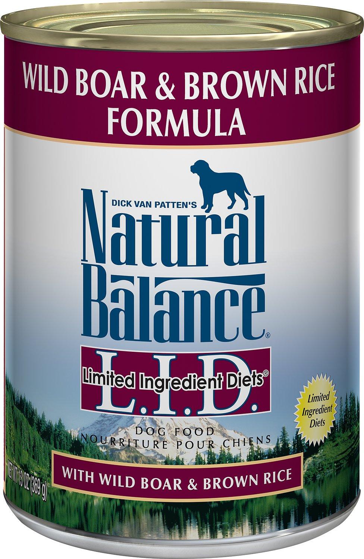 Natural Balance L.I.D. Limited Ingredient Diets Wild Boar & Brown Rice Formula Canned Dog Food, 13-oz,