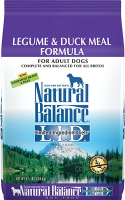 Natural Balance L.I.D. Limited Ingredient Diets Legume & Duck Meal Formula Grain-Free Dry Dog Food, 4.5-lb bag
