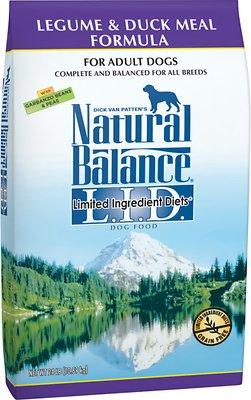 Natural Balance L.I.D. Limited Ingredient Diets Legume & Duck Meal Formula Grain-Free Dry Dog Food, 24-lb bag