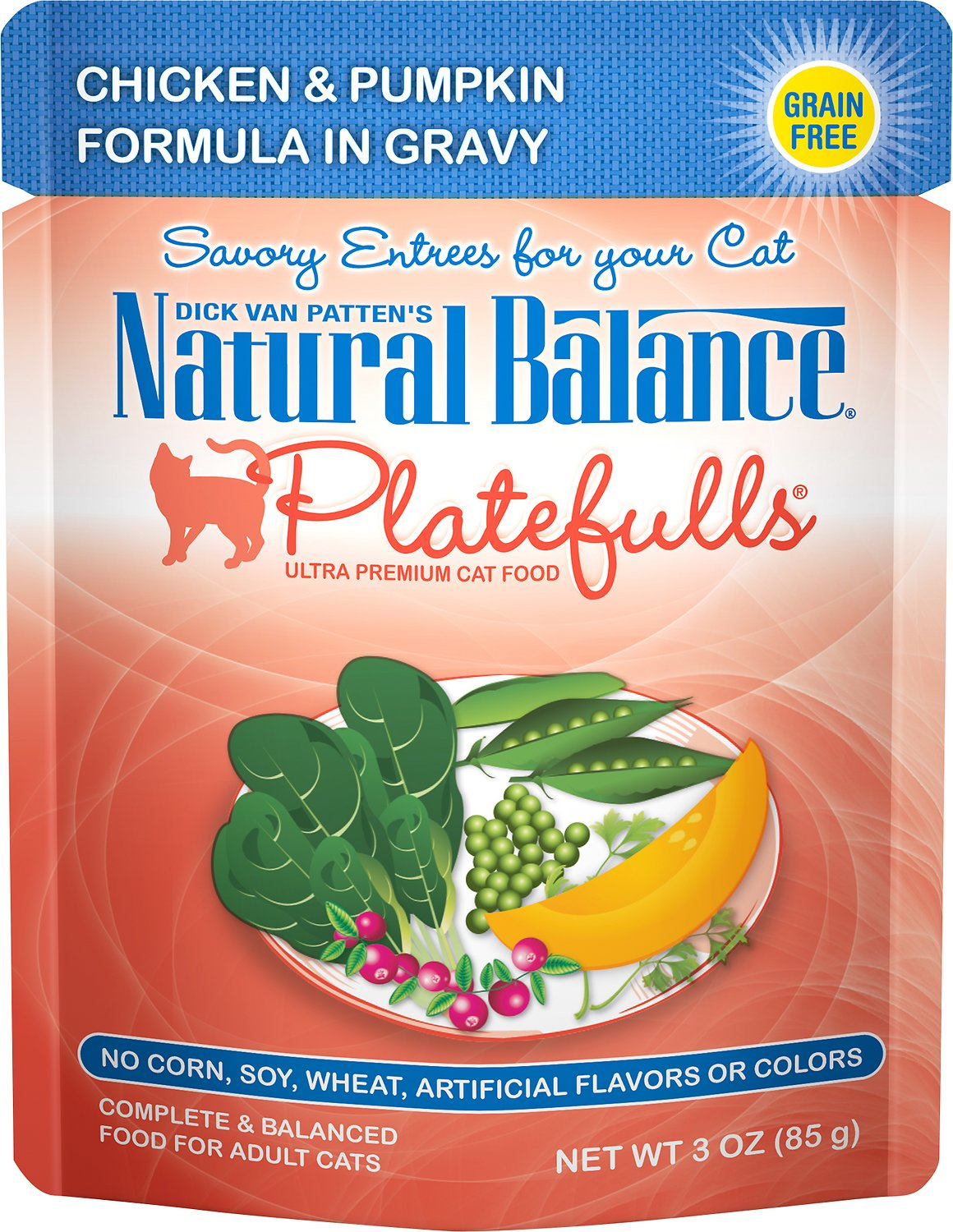 Natural Balance Platefulls Chicken & Pumpkin Formula in Gravy Grain-Free Cat Food Pouches, 3-oz pouch
