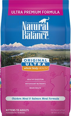 Natural Balance Original Ultra Whole Body Health Chicken Meal & Salmon Meal Formula Dry Cat Food, 2-lbs