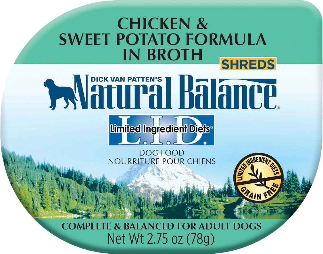 Natural Balance L.I.D. Limited Ingredient Diets Chicken & Sweet Potato Formula Shreds Grain-Free Wet Dog Food, 2.75-oz
