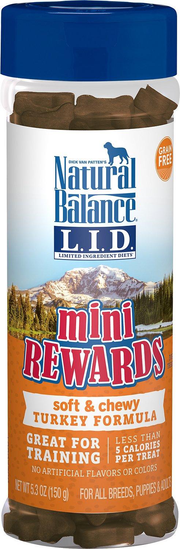 Natural Balance L.I.D. Limited Ingredient Diets Mini Rewards Turkey Formula Dog Treats, 5.3-oz jar