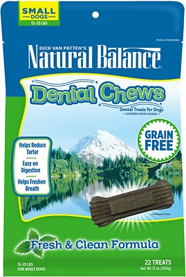 Natural Balance Dental Chews Fresh & Clean Formula Grain-Free Dog Treats, Small