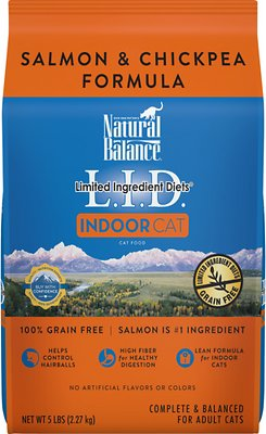 Natural Balance L.I.D. Limited Ingredient Diets Indoor Grain-Free Salmon & Chickpea Formula Dry Cat Food, 5-lb bag