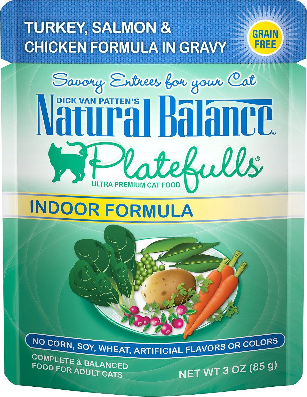 Natural Balance Platefulls Indoor Formula Turkey, Salmon & Chicken in Gravy Grain-Free Cat Food Pouches, 3-oz pouch