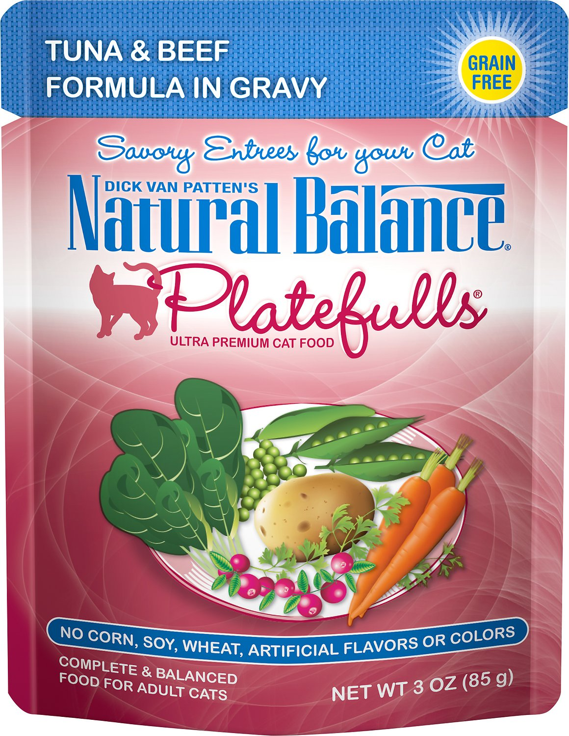 Natural Balance Platefulls Tuna & Beef Formula in Gravy Grain-Free Cat Food Pouches, 3-oz pouch