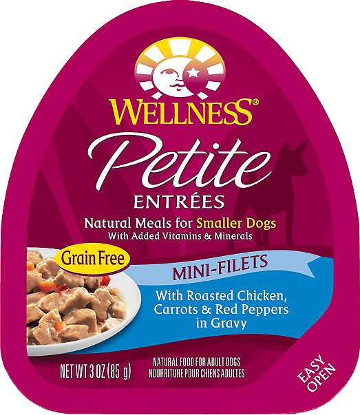 Wellness Petite Entrees Mini-Filets with Roasted Chicken, Carrots & Red Peppers in Gravy Grain-Free Wet Dog Food, 3-oz