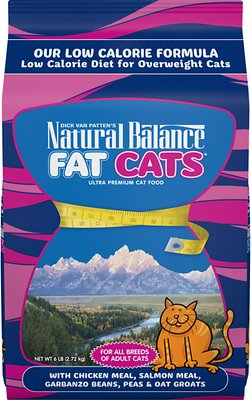 Natural Balance Fat Cats with Chicken Meal, Salmon Meal, Garbanzo Beans, Peas & Oatmeal Dry Cat Food, 6-lb bag