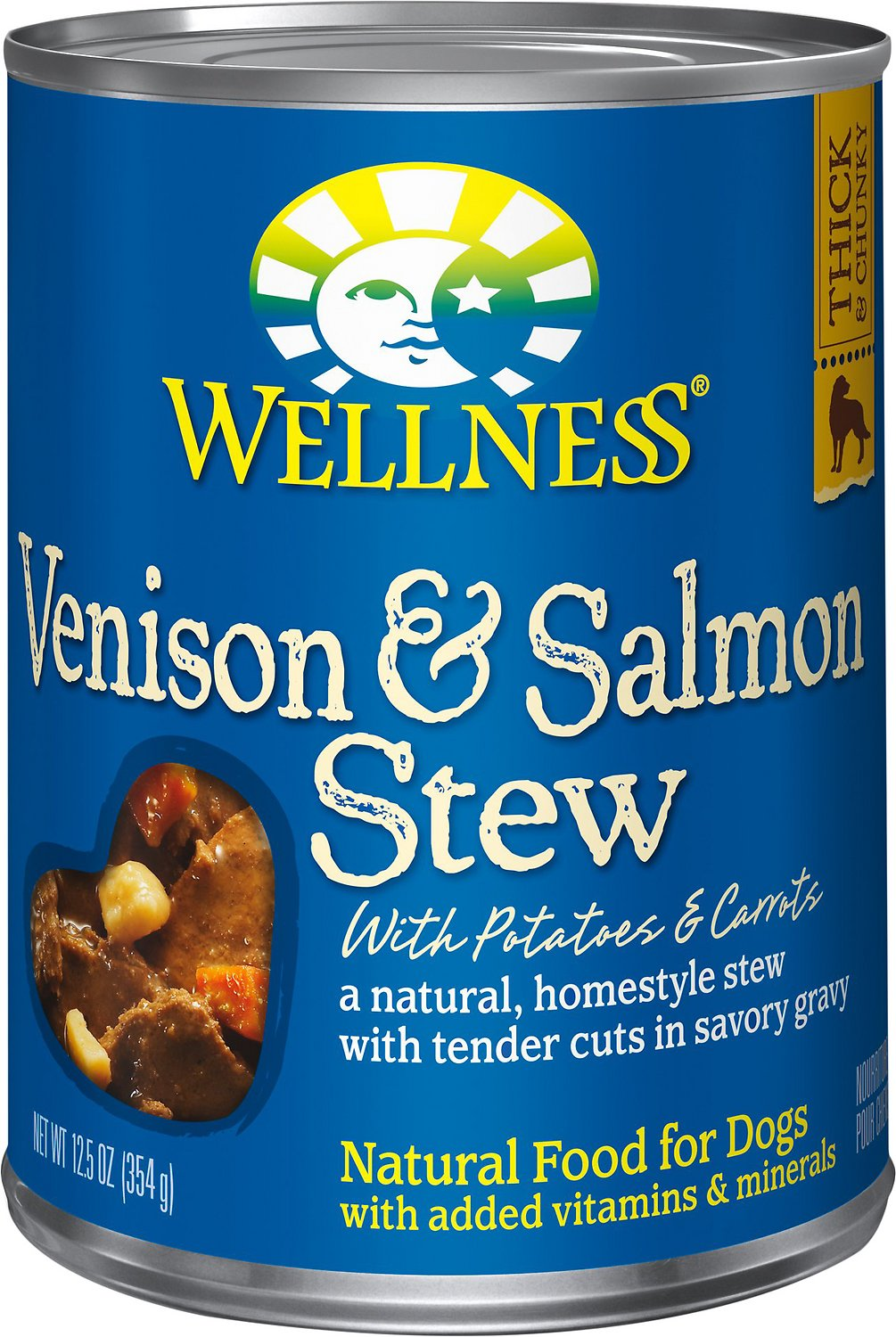 Wellness Venison & Salmon Stew with Potatoes & Carrots Canned Dog Food, 12.5-oz