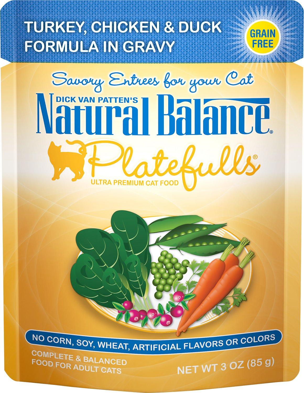 Natural Balance Platefulls Turkey, Chicken & Duck Formula in Gravy Grain-Free Cat Food Pouches, 3-oz pouch, case of 24
