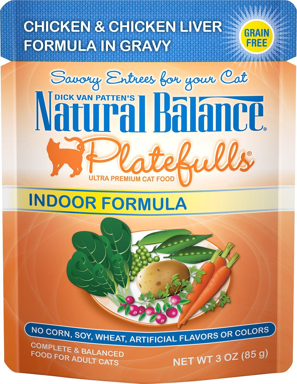 Natural Balance Platefulls Indoor Formula Chicken & Chicken Liver in Gravy Grain-Free Cat Food Pouches, 3-oz pouch