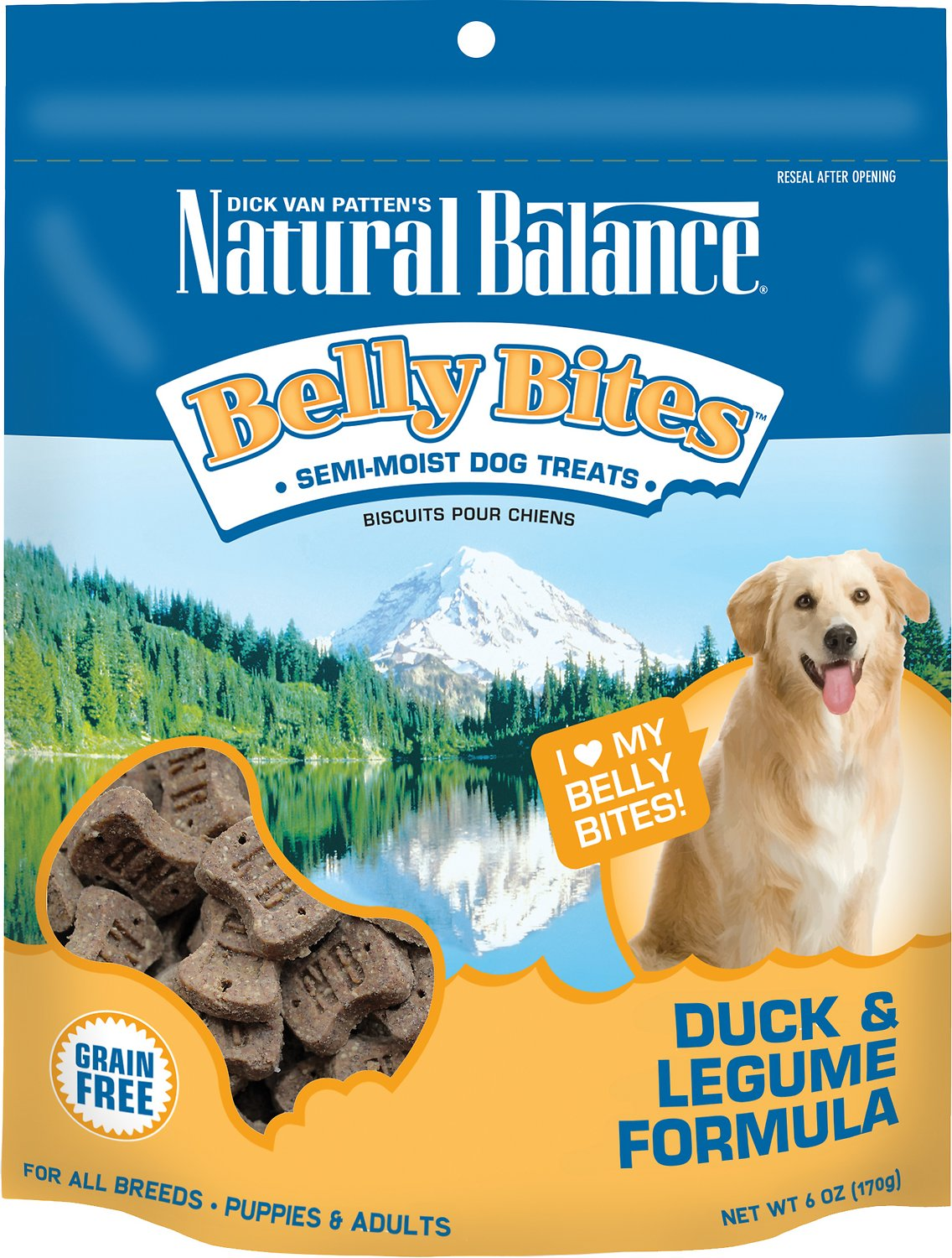 Natural Balance Belly Bites Duck & Legume Formula Grain-Free Dog Treats, 6-oz bag