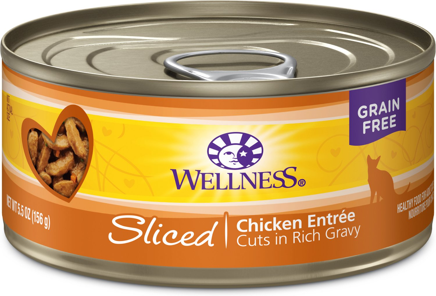 Wellness Sliced Chicken Entree Grain-Free Canned Cat Food, 3-oz