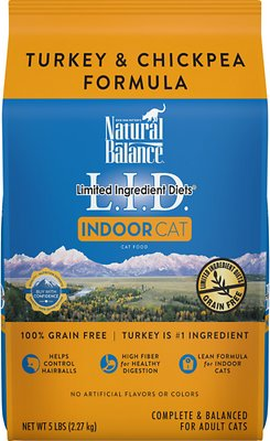 Natural Balance L.I.D. Limited Ingredient Diets Indoor Grain-Free Turkey & Chickpea Formula Dry Cat Food, 5-lb bag