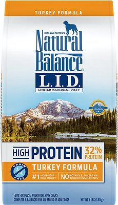 Natural Balance L.I.D. Limited Ingredient Diets High-Protein Turkey Formula Grain-Free Dry Dog Food, 4-lb bag