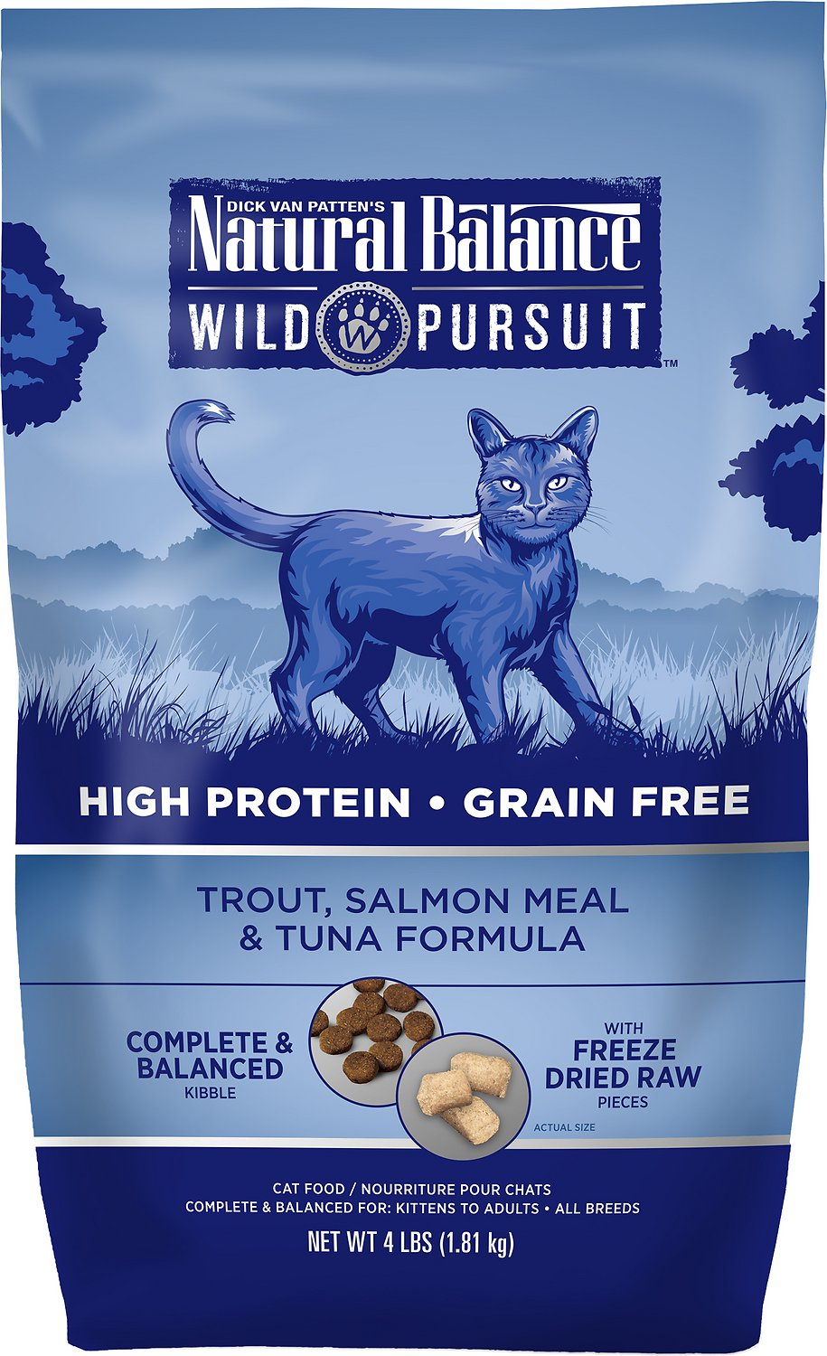 Natural Balance Wild Pursuit Trout, Salmon Meal & Tuna Formula Grain-Free Dry Cat Food, 4-lb bag