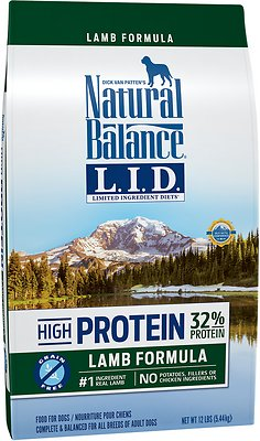 Natural Balance L.I.D. Limited Ingredient Diets High-Protein Lamb Formula Grain-Free Dry Dog Food, 12-lb bag