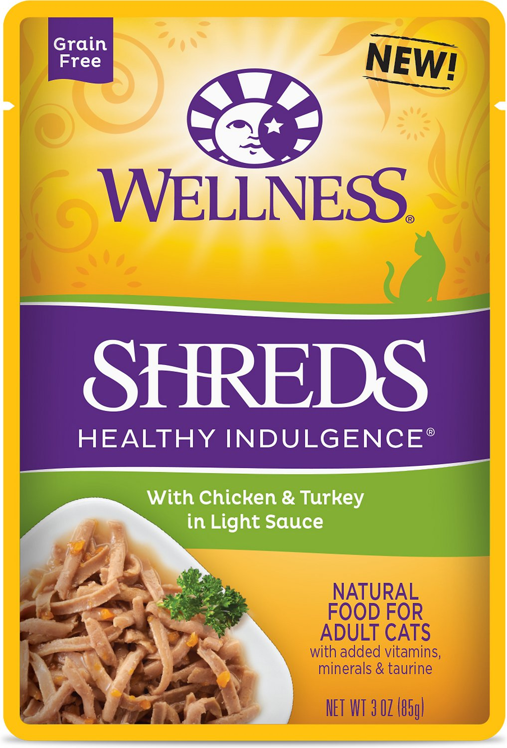 Wellness Healthy Indulgence Shreds with Chicken & Turkey in Light Sauce Grain-Free Wet Cat Food Pouches, 3-oz