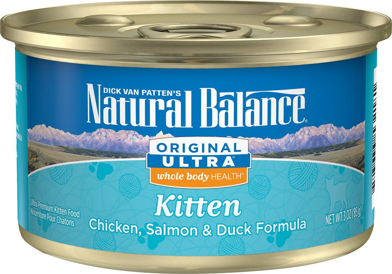 Natural Balance Original Ultra Whole Body Health Kitten Formula Chicken, Salmon & Duck Canned Cat Food, 3-oz
