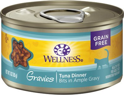 Wellness Natural Grain-Free Gravies Tuna Dinner Canned Cat Food, 3-oz, case of 12