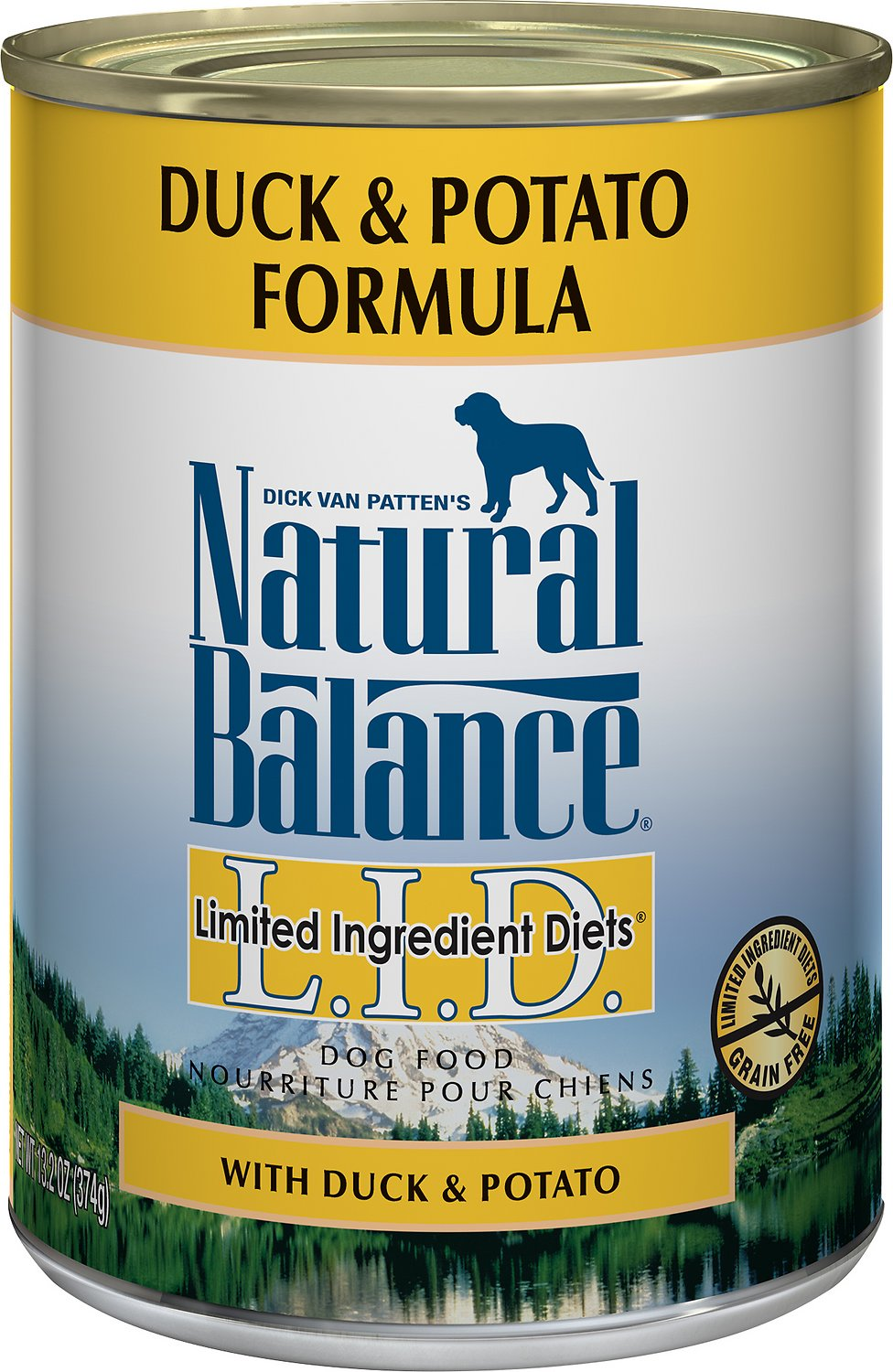 Natural Balance L.I.D. Limited Ingredient Diets Duck & Potato Formula Grain-Free Canned Dog Food, 13-oz
