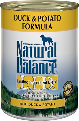 Natural Balance L.I.D. Limited Ingredient Diets Duck & Potato Formula Grain-Free Canned Dog Food, 13-oz, case of 12