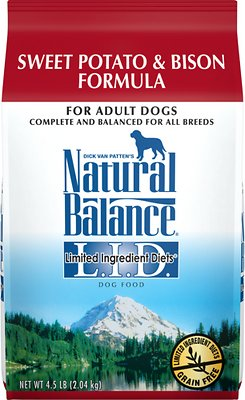 Natural Balance L.I.D. Limited Ingredient Diets Sweet Potato & Bison Formula Grain-Free Dry Dog Food, 4.5-lb bag