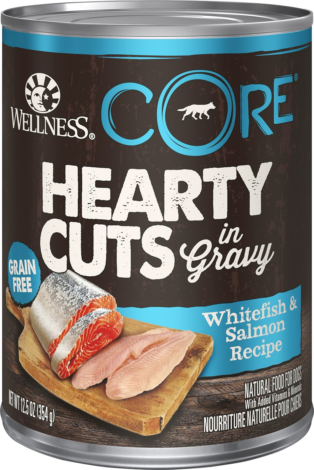 Wellness CORE Hearty Cuts in Gravy Whitefish & Salmon Recipe Grain-Free Canned Dog Food, 12.5-oz