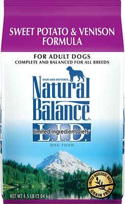 Natural Balance L.I.D. Limited Ingredient Diets Sweet Potato & Venison Formula Grain-Free Dry Dog Food, 4.5-lb bag