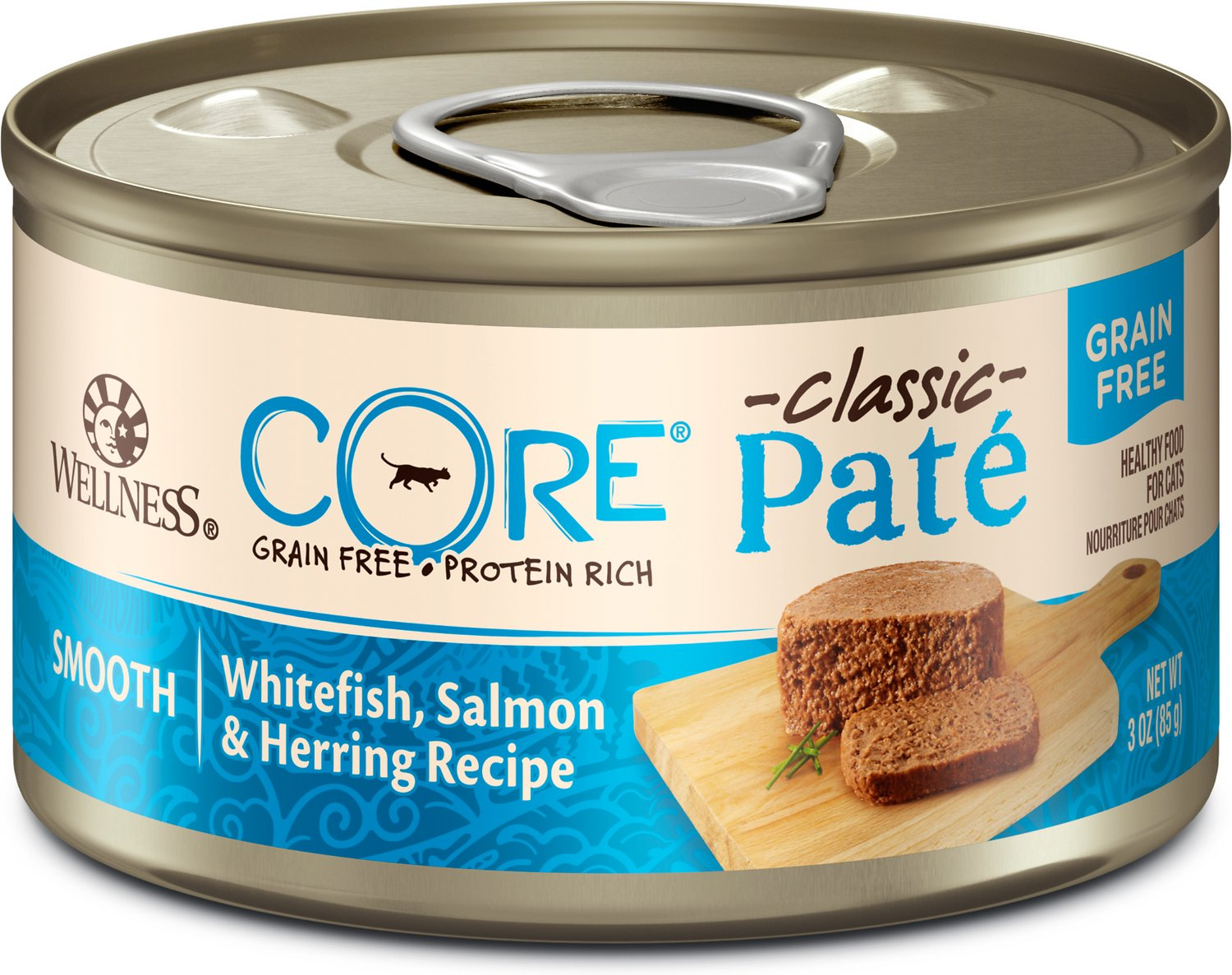 Wellness CORE Natural Grain-Free Whitefish Salmon & Herring Pate Canned Cat Food, 3-oz