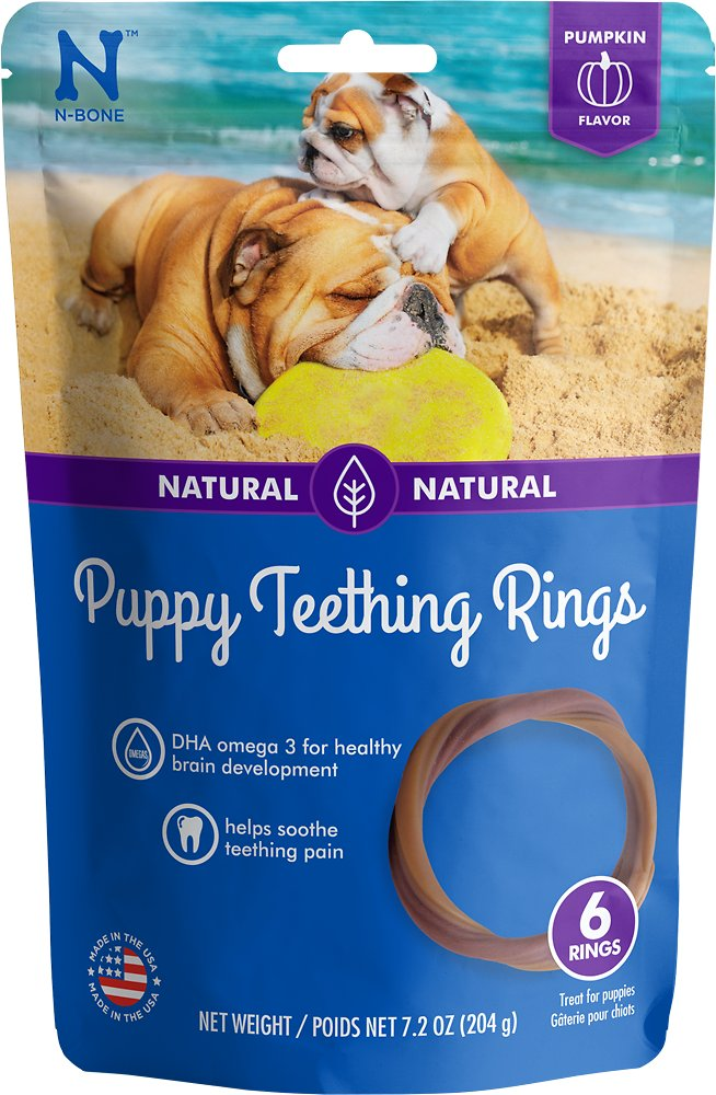 N-Bone Puppy Teething Ring Pumpkin Flavor Dog Treats - 6 count