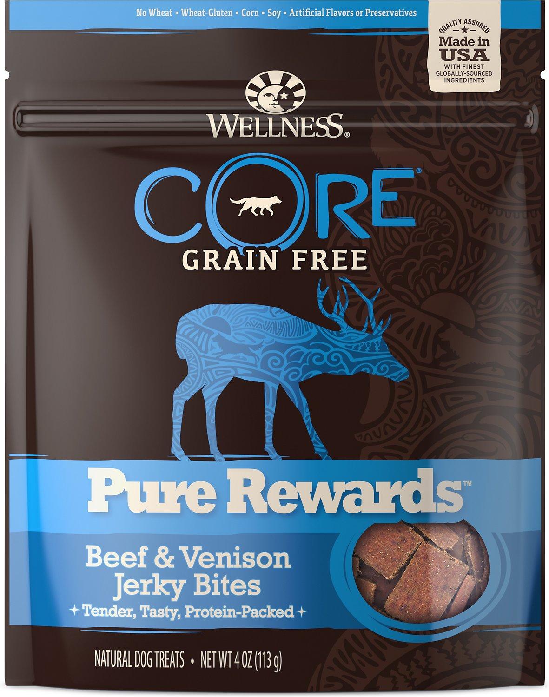 Wellness CORE Pure Rewards Grain-Free Beef & Venison Jerky Bites Dog Treats, 4-oz bag