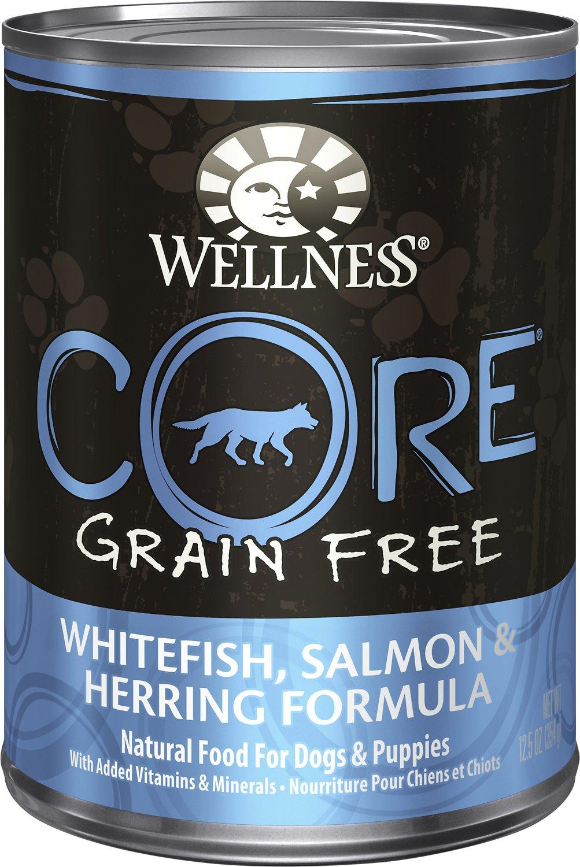 Wellness CORE Grain-Free Whitefish, Salmon & Herring Formula Canned Dog Food, 12.5-oz
