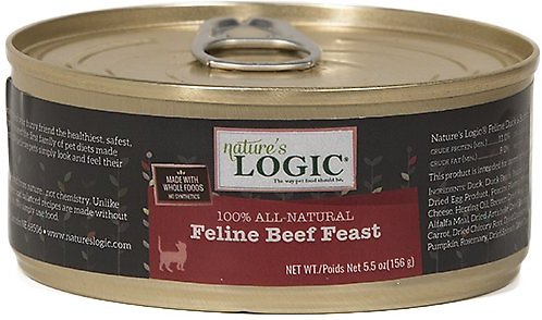 Nature's Logic Feline Beef Feast Grain-Free Canned Cat Food, 5.5-oz