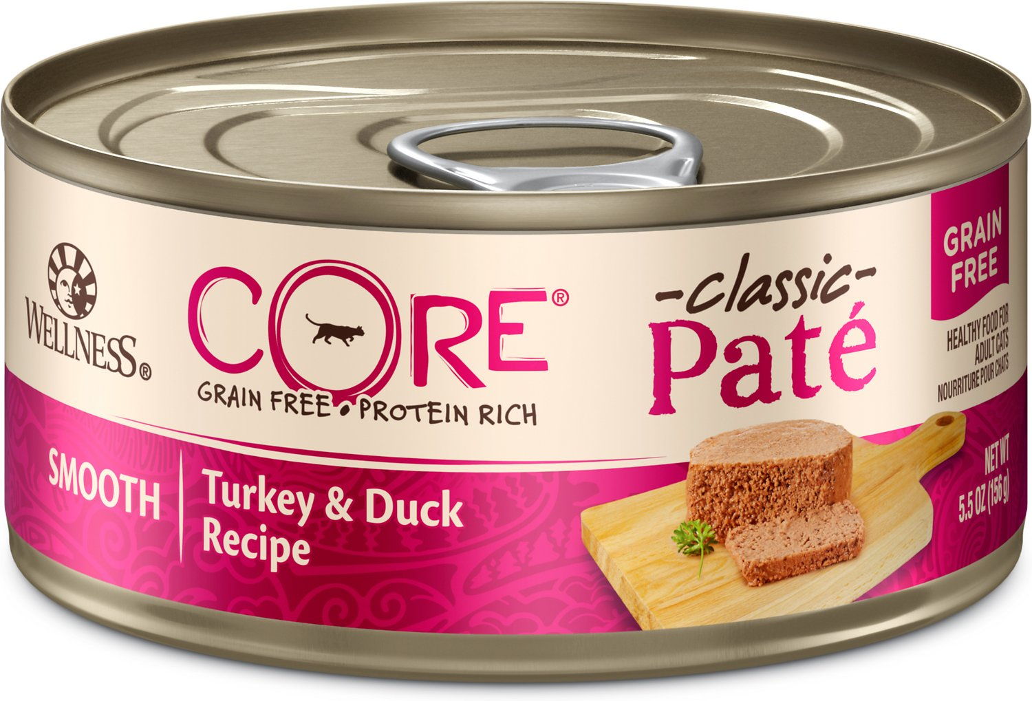 Wellness CORE Natural Grain-Free Turkey & Duck Pate Canned Cat Food, 3-oz