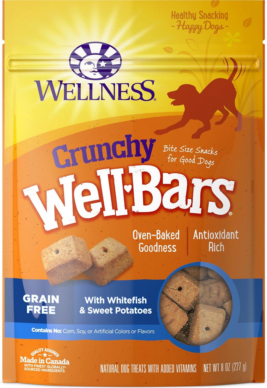 Wellness Crunchy Wellbars Whitefish & Sweet Potato Recipe Grain-Free Dog Treat, 8-oz bag