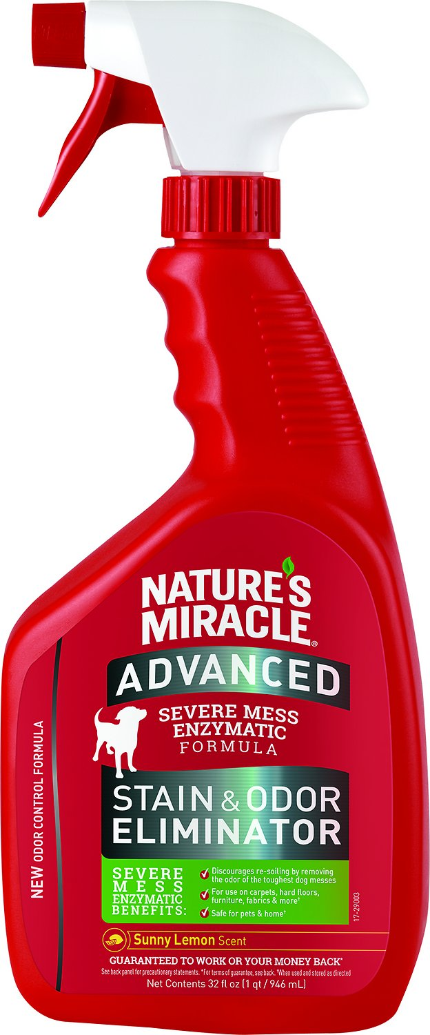Nature's Miracle Dog Advanced Stain & Odor Remover Spray Sunny Lemon, 32-oz bottle