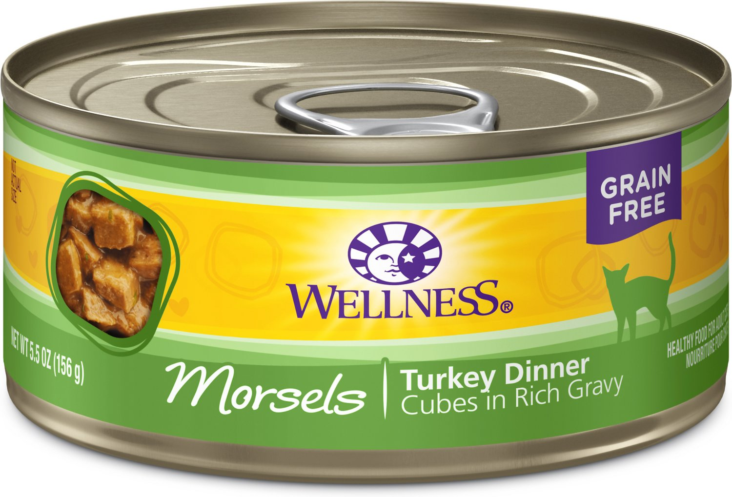 Wellness Morsels Turkey Dinner Cubes in Rich Gravy Grain-Free Canned Cat Food, 5.5-oz