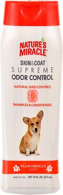 Nature's Miracle Dog Supreme Odor Control Natural Shed Control Dog Shampoo & Conditioner, 16-oz bottle