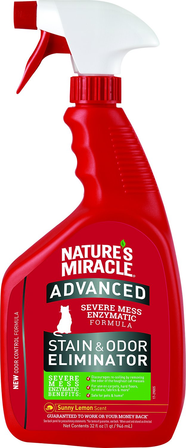 Nature's Miracle Advanced Just For Cats Stain & Odor Remover Spray Sunny Lemon, 32-oz bottle