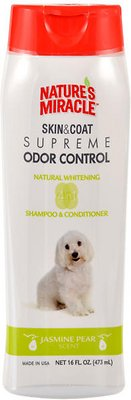 Nature's Miracle Dog Supreme Odor Control Natural Whitening Dog Shampoo & Conditioner, 16-oz bottle