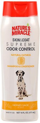 Nature's Miracle Dog Supreme Odor Control Oatmeal Dog Shampoo & Conditioner, 16-oz bottle